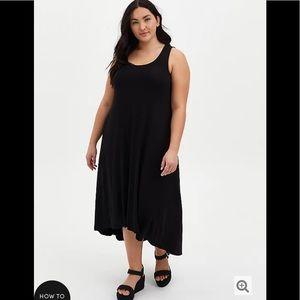 SUPER SOFT BLACK HI-LO MAXI DRESS